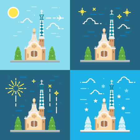 Park Guell Barcelona flat design illustration vector