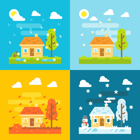 seasons of the year: 4 seasons house flat design set illustration vector