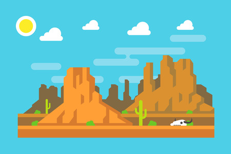 canyon: Wild west Arizona mountain flat design illustration