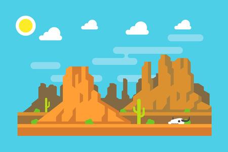 mountain landscape: Wild west Arizona mountain flat design illustration