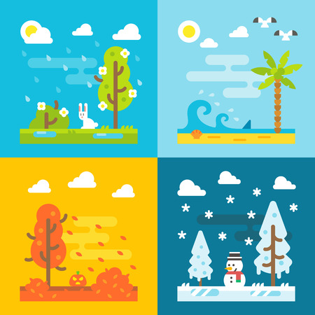 four season: 4 seasons park flat design set illustration vecor