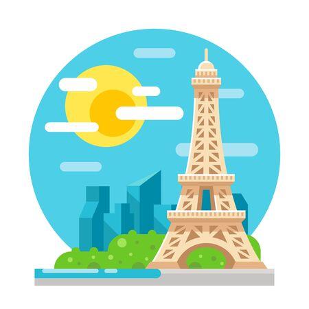 에펠 탑 평면 디자인 랜드 마크 일러스트 벡터