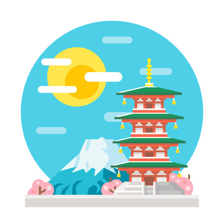 japan sky: Japan pagoda flat design landmark illustration vector Illustration