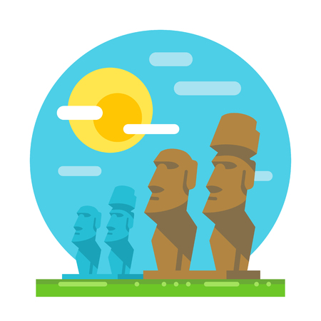moai: Estatua Moai diseño plano ilustración vectorial hito