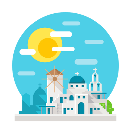 romance sky: Santorini flat design landmark illustration vector Illustration