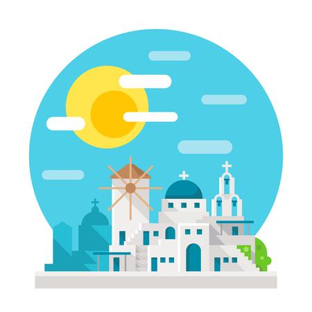 Santorini flat design landmark illustration vector Illustration