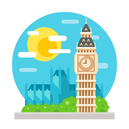 Big Ben clock tower flat design landmark illustration vector
