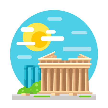 parthenon: Parthenon flat design landmark illustration vector Illustration