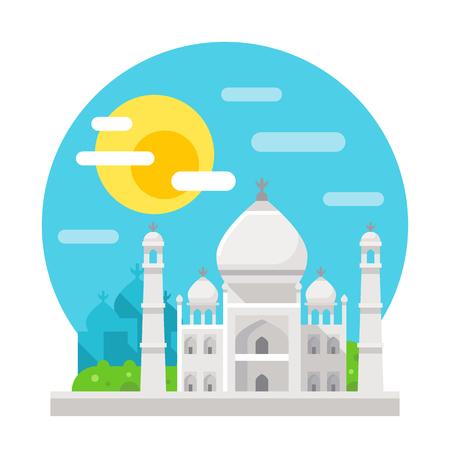 mahal: Taj Mahal flat design landmark illustration vector Illustration
