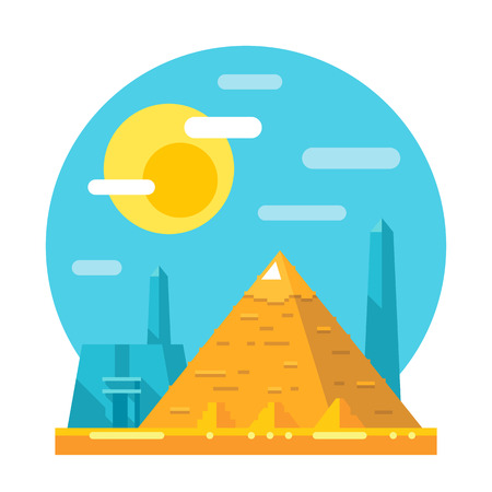 egypt: Pyramid of Giza flat design landmark illustration vector Illustration