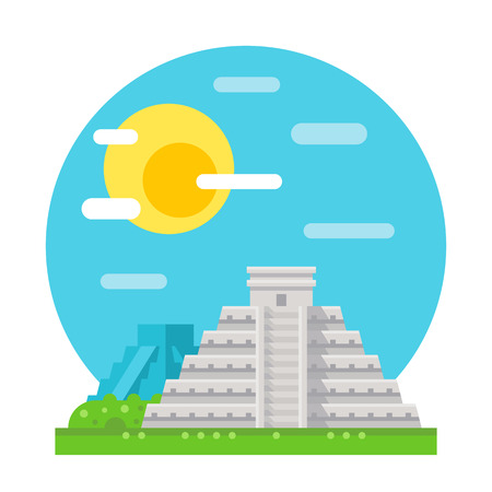 ruins: Chichen Itza flat design landmark illustration vector Illustration