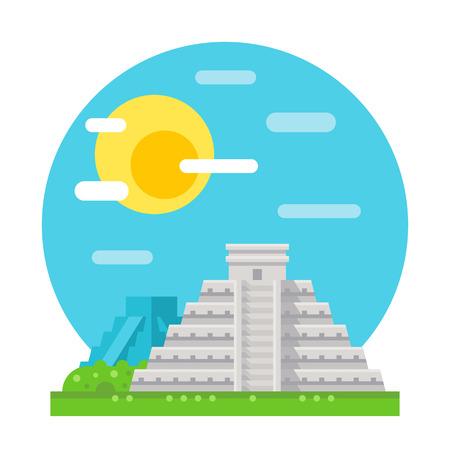 chichen itza: Chichen Itza flat design landmark illustration vector Illustration