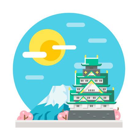 cherry blossom illustration: Osaka castle flat design landmark illustration vector