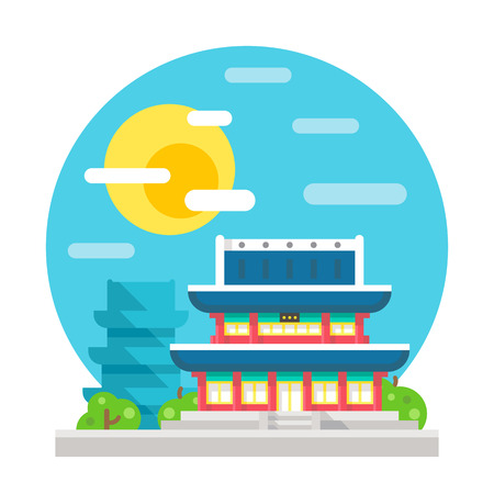 korea: Changdeokgung palace flat design landmark illustration vector Illustration
