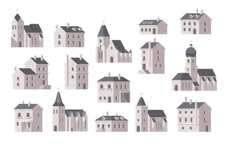 iglesia: Edificios europeos establecen diseño plano ilustración vectorial Vectores