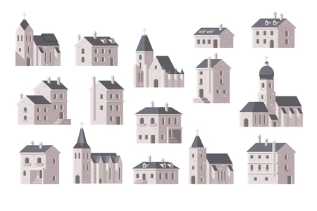 town houses: Europe buildings set flat design illustration vector