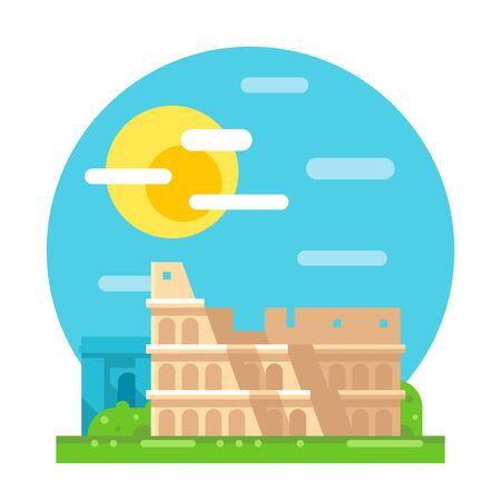old ruin: Colosseum ruin flat design landmark illustration vector