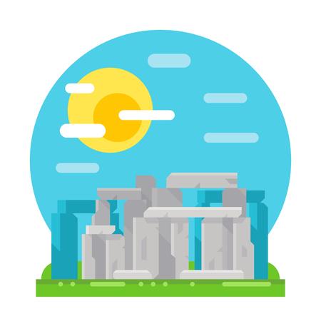 stonehenge: Stonehenge site flat design landmark illustration vector