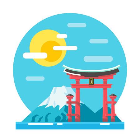 shrine: Torii shrine flat design landmark illustration vector