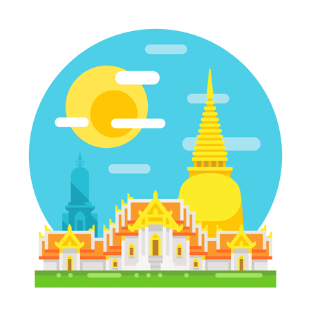 thailand temple: Thailand temple flat design landmark illustration vector