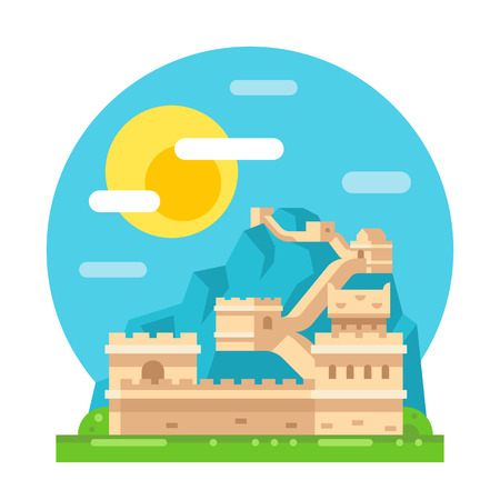 great: Great wall of China flat design illustration vector