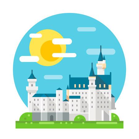 castillos: Diseño plano del castillo de Neuschwanstein ilustración vectorial hito