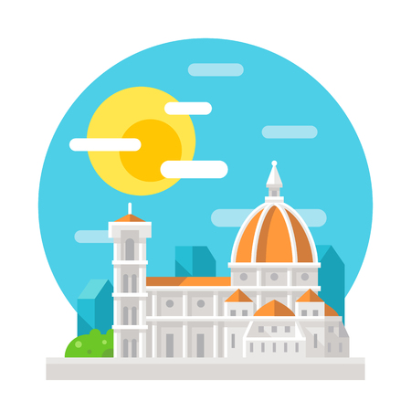 florence   italy: Florence cathedral flat design landmark illustration vector