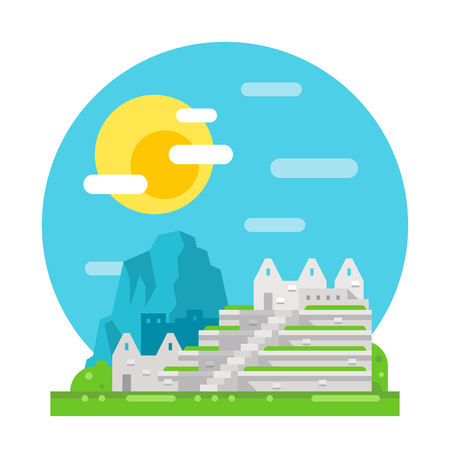 picchu: Machu Pichu flat design landmark illustration vector