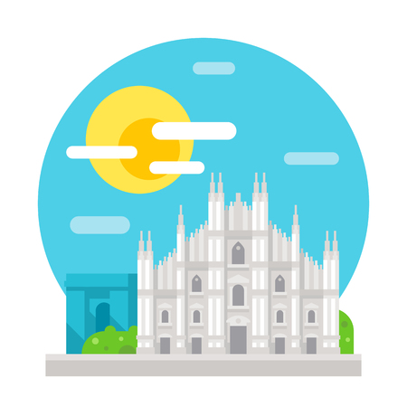 De kathedraal van Milaan platte ontwerp mijlpaal illustratie vector