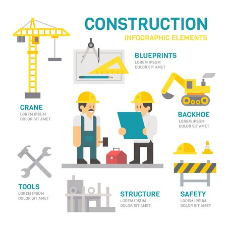 construction equipment: Construction site flat design infographic illustration vector