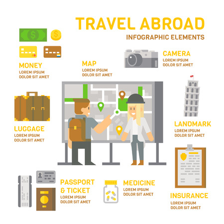 bagagli: Viaggi all'estero infografica illustrazione vettoriale design piatto