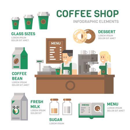 bar counter: Coffee shop infographic flat design illustration vector Illustration