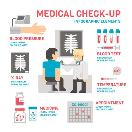 blood pressure: Medical sheckup infographic flat design illustration vector Illustration