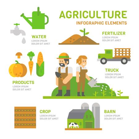 granja: Agrícolas diseño plano infografía ilustración vectorial