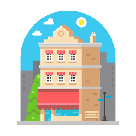 windows home: Shop front facade flat design illustration vector