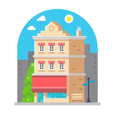facade: Shop front facade flat design illustration vector