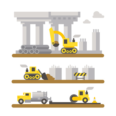 bridge construction: Construction site machineries flat design illustration  Illustration