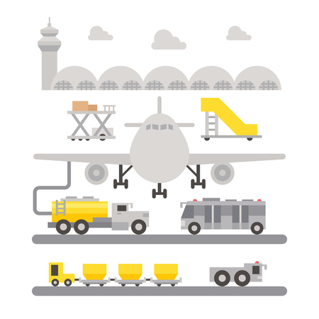 airport luggage: Airport ground support machineries flat design