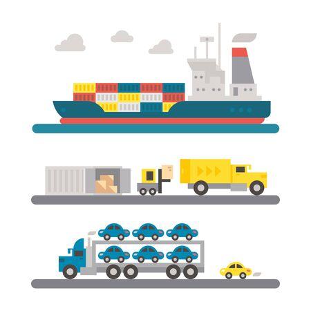 shipping: Logistic transportation machineries flat design