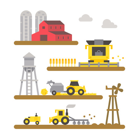 harvesting: Farm land machineries flat design