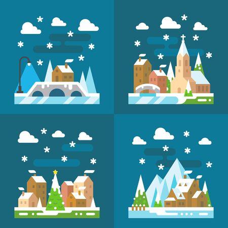 kârlı: Snowy village Christmas flat design