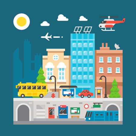 underground: Flat design cityscape underground train station illustration vector