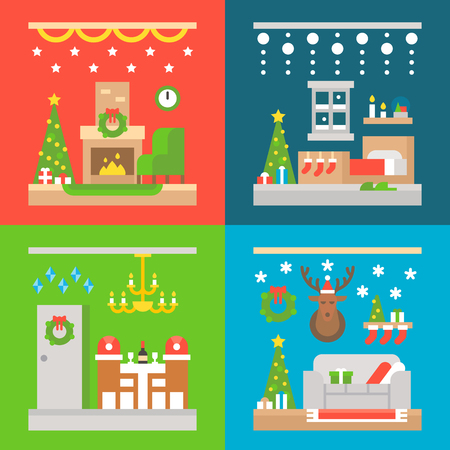 fireplace christmas: Christmas interior decoration flat design illustration vector