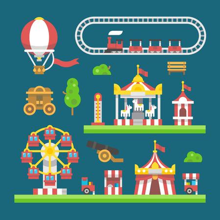 air hammer: Flat design carnival amusement park illustration vector Illustration