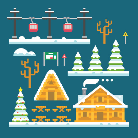 ski lodge: Winter ski resort flat design illustration vector