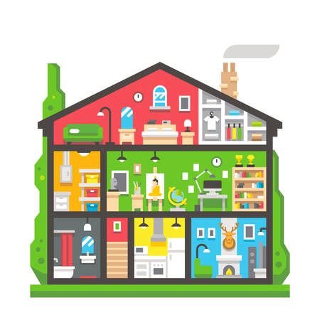 smokestack: Flat design home interior side view illustration vector