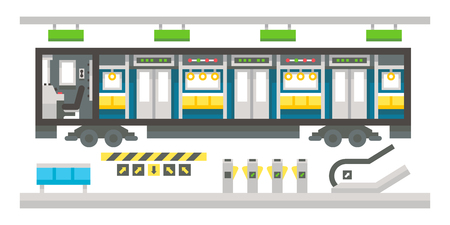 cockpit: Flat design subway train interior illustration vector