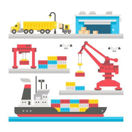 camion grua: Carga Dise�o plano equipamiento portuario ilustraci�n vectorial