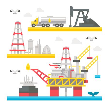 natural gas: Flat design oil rig set illustration vector Illustration
