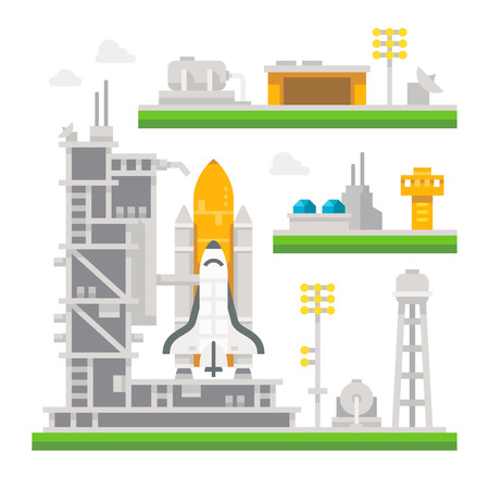 spaceport: Flat design shuttle launch station illustration vector